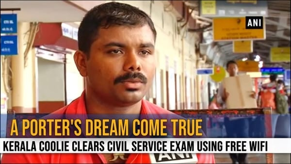 Youtube - Kerala Coolie clears civil services exam using free WIFI